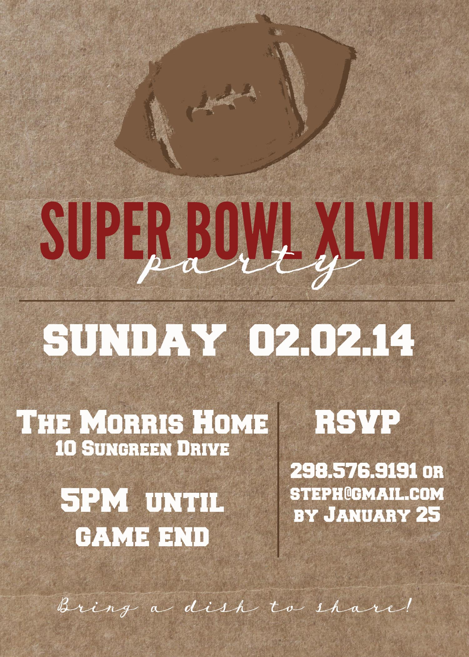 Super Bowl Party XLVIII Customizable Invitation Free to download