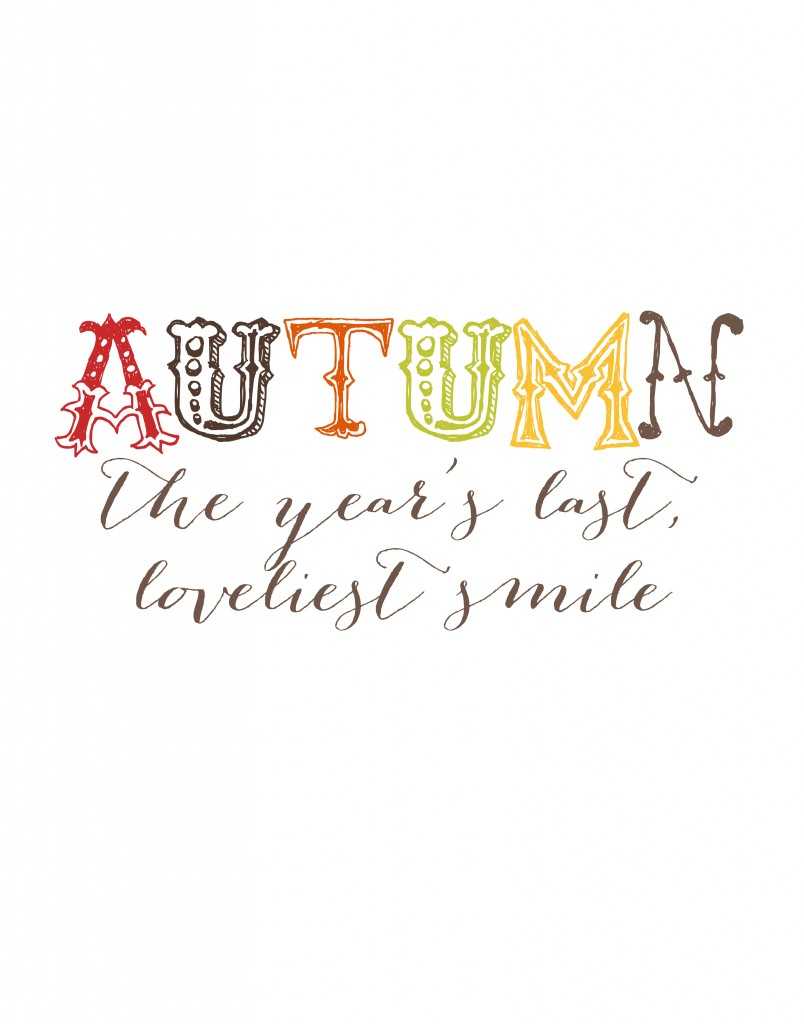 Autumn Season Smile Printable from Moritz Fine Designs.