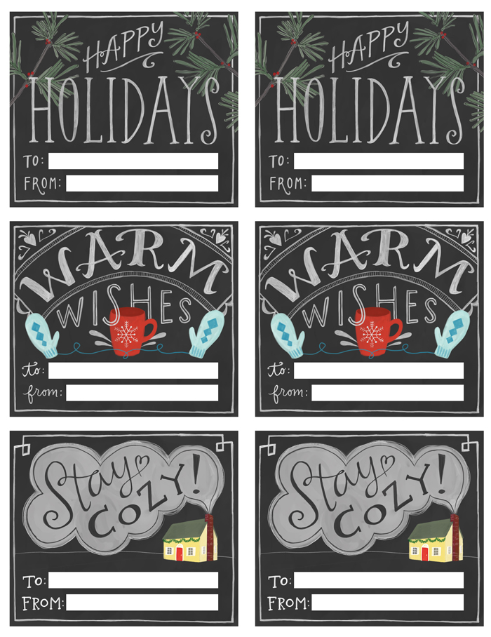 Chalkboard printable Gift Tags