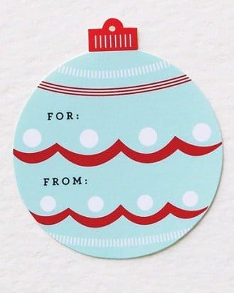 christmas ornament printable gift tag