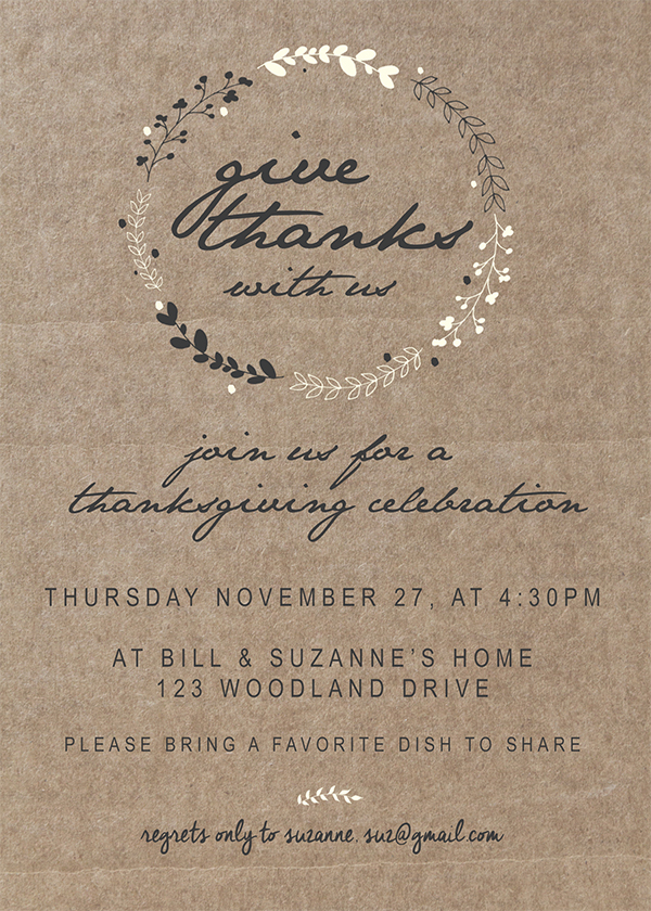 Simple and adorable customizable Printable Thanksgiving Invitation you can send to friends & family.
