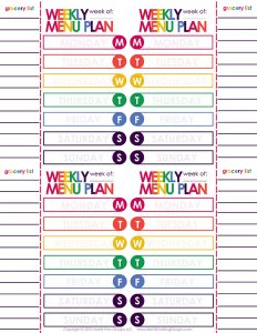 I love that I can plan and see and whole month's worth of menus with this Weekly Menu Plan by Month Printable with weekly grocery list!