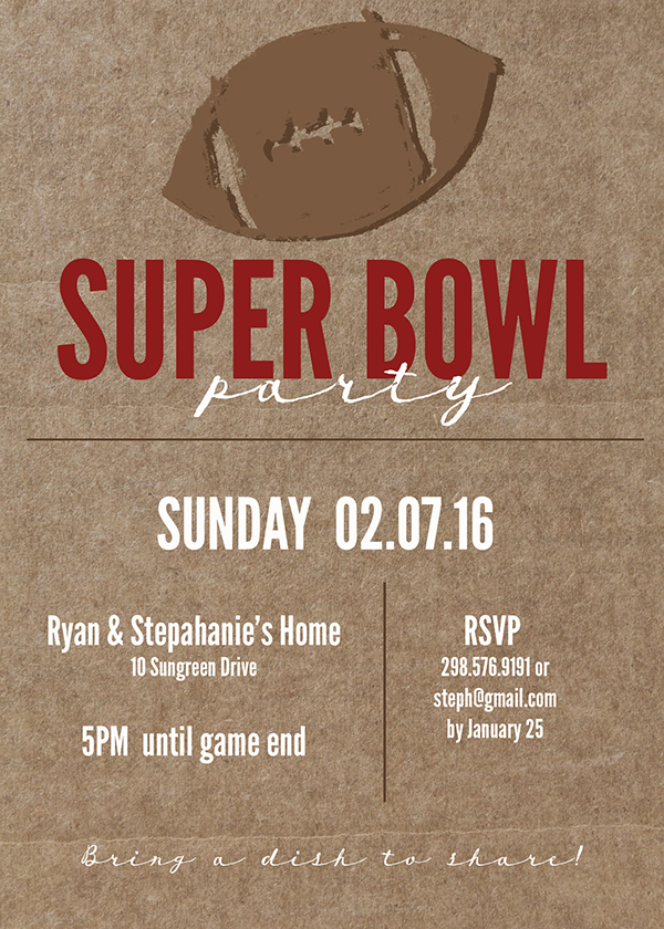 Super Bowl Printable and Invitation. Great for your Super Bowl Party, download and print! Customizable Football Invitation for any football party.